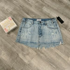 New! One x OneTeaspoon Distressed Denim Skirt
